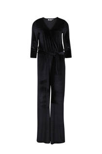 WE Fashion fluwelen jumpsuit zwart (dames)