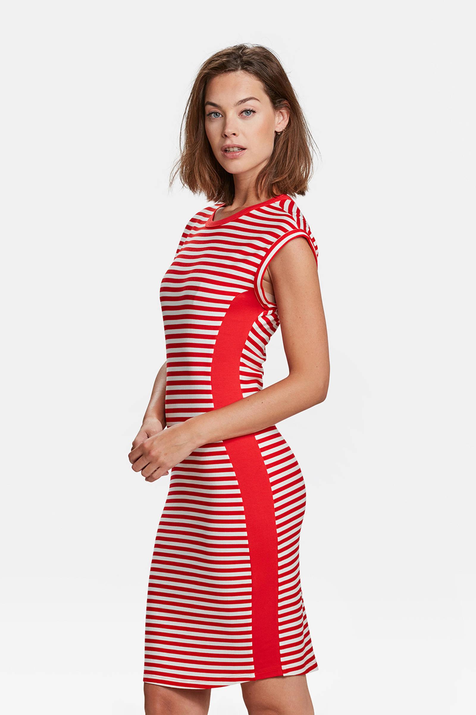 jurk rood wit gestreept