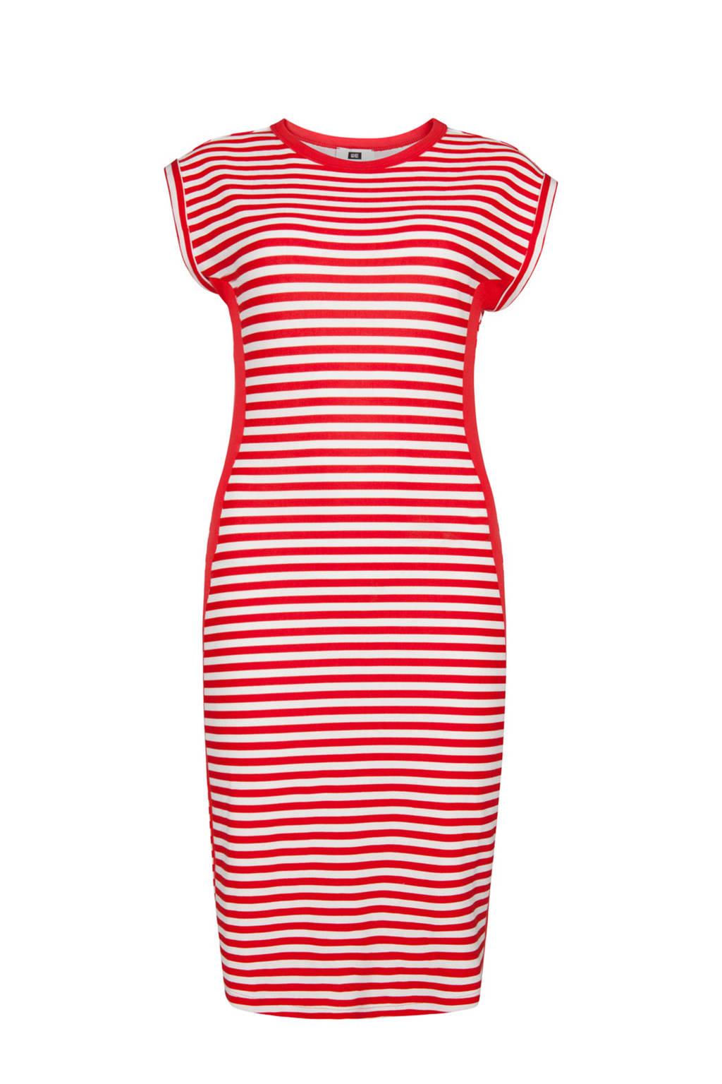 WE Fashion gestreepte jurk rood/wit, Rood/wit