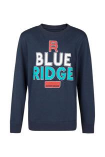 WE Fashion Blue Ridge sweater met opdruk donkerblauw (jongens)