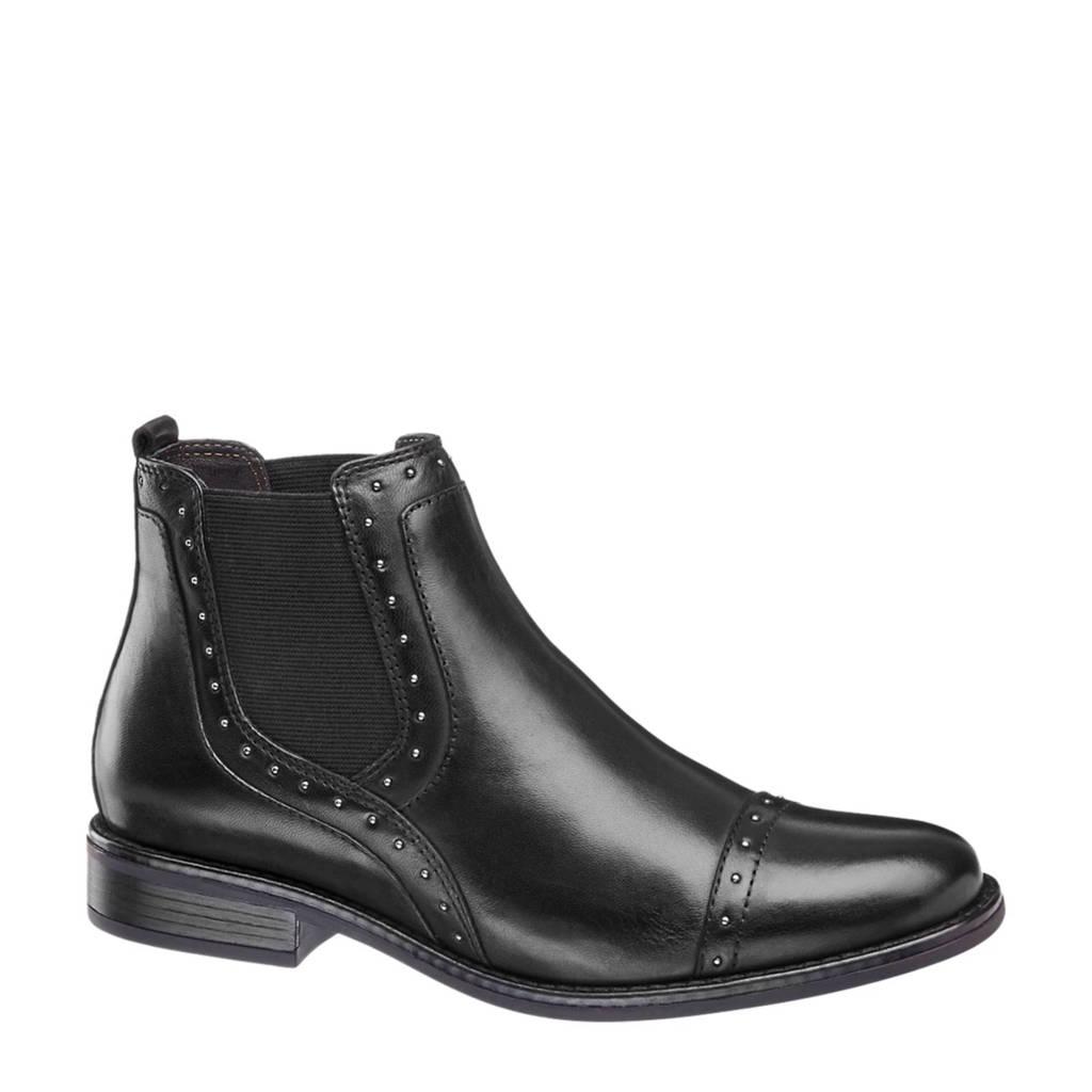 vanHaren 5th Avenue leren chelsea boots met studs zwart, Zwart
