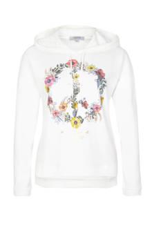 hoodie bloemenopdruk wit