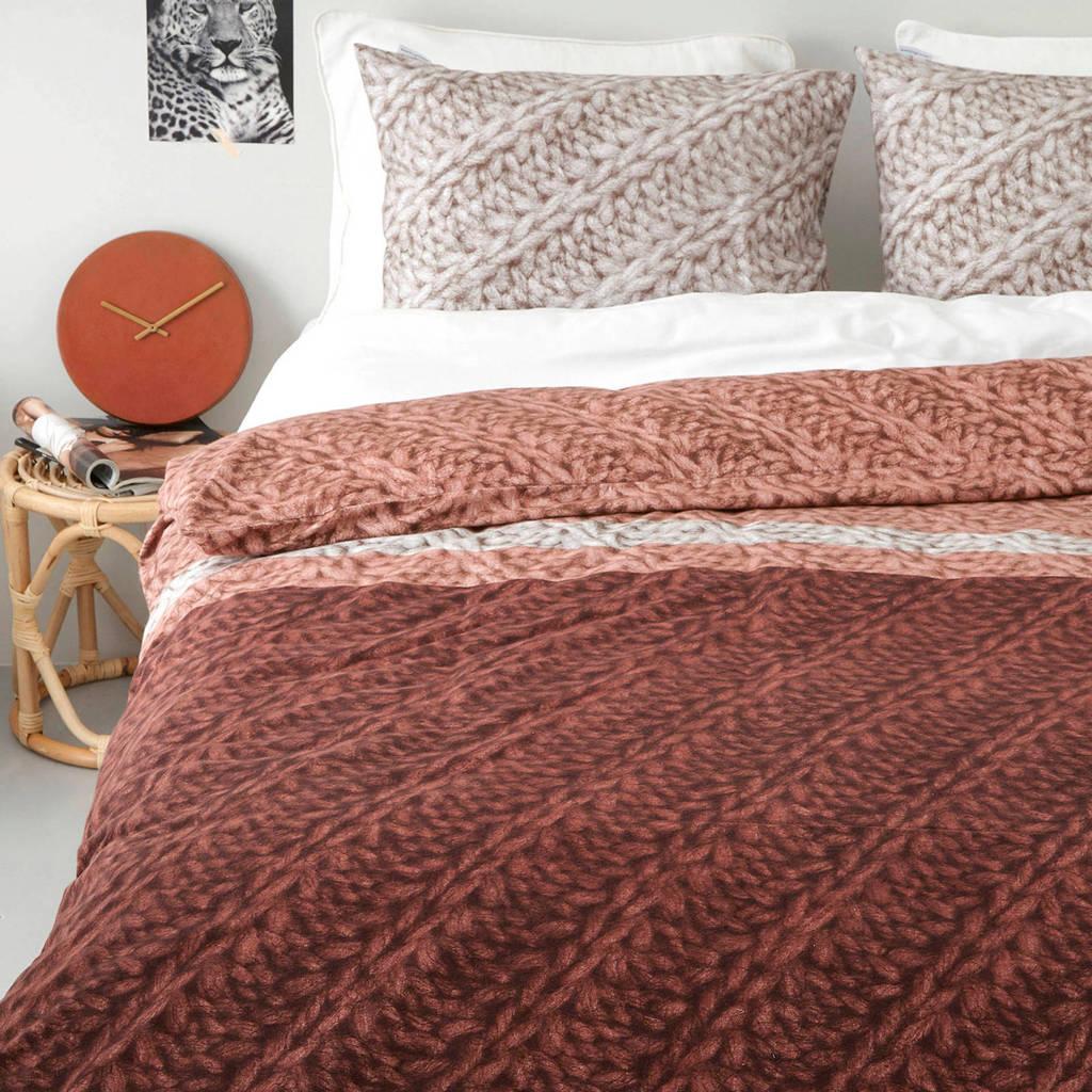 Beddinghouse flanellen dekbedovertrek lits jumeaux, Terra/naturel/grijs, Lits-jumeaux (240 cm breed)
