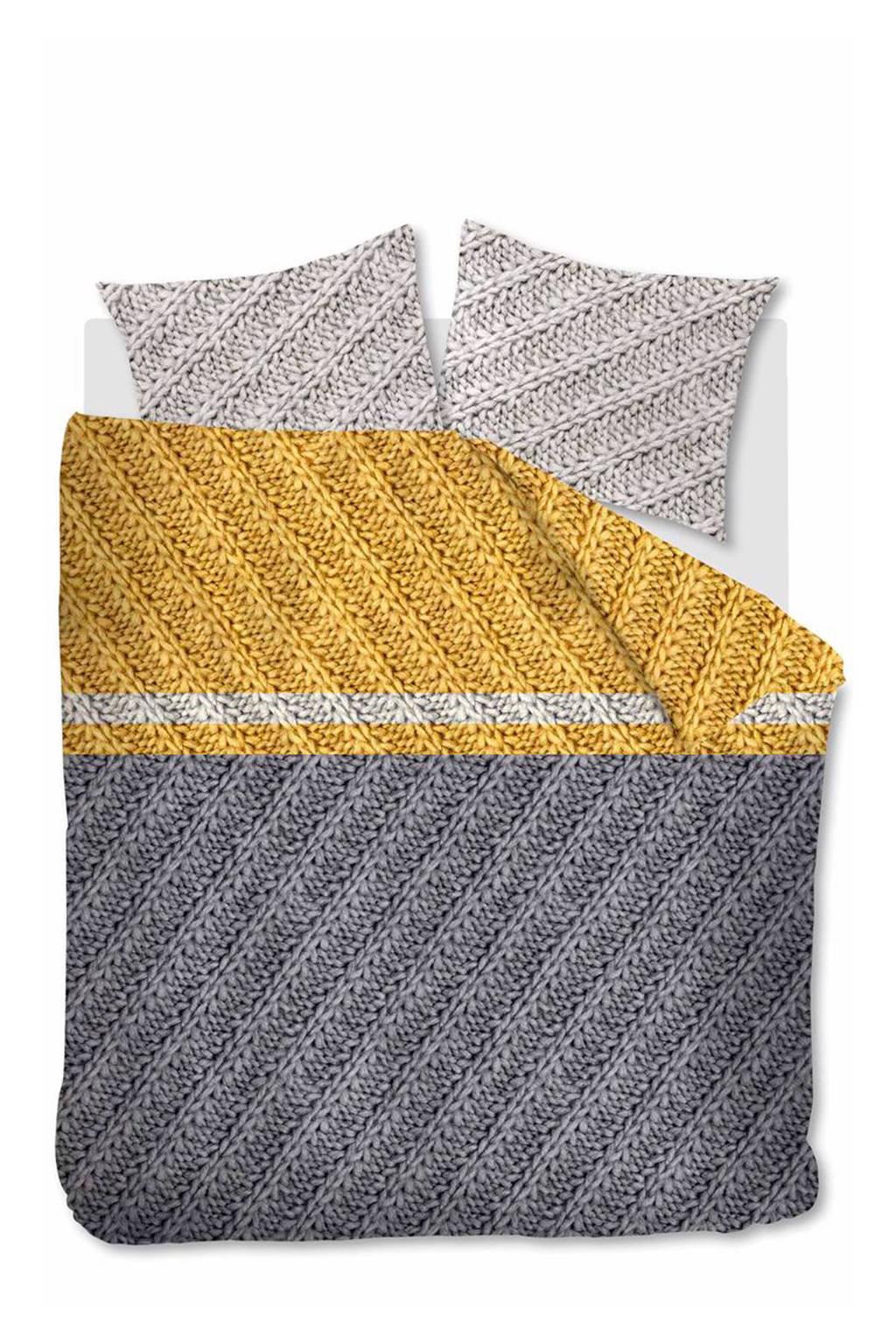 Beddinghouse flanellen dekbedovertrek 2 persoons, 2 persoons (200 cm breed), Taupe/okergeel/wit