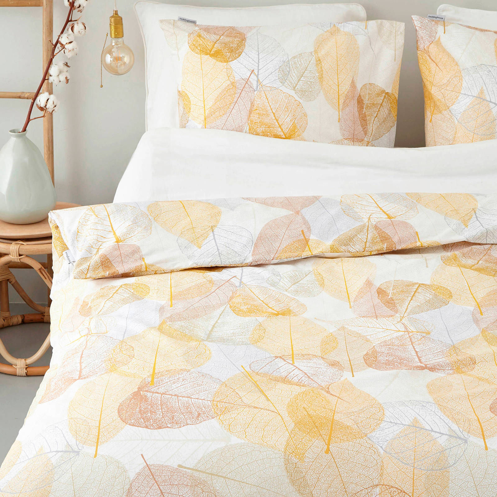 beddinghouse katoenen dekbedovertrek lits jumeaux geel