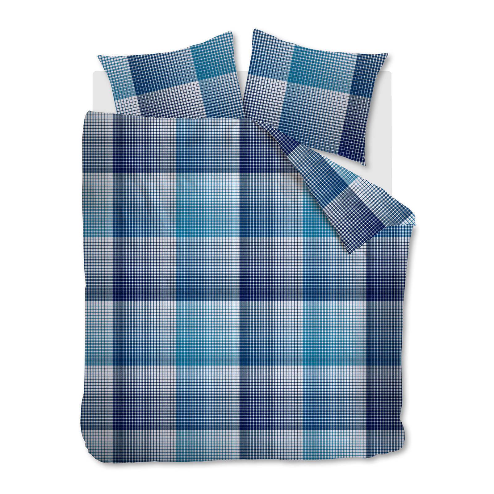 beddinghouse flanellen dekbedovertrek 2 persoons blauw