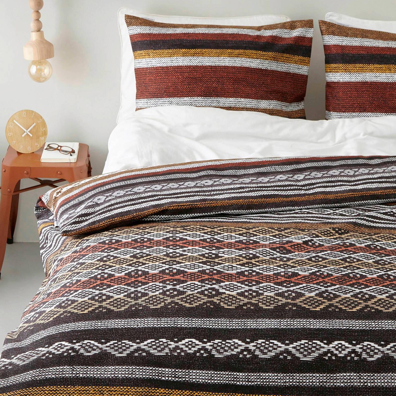 beddinghouse katoenen dekbedovertrek lits jumeaux bruin