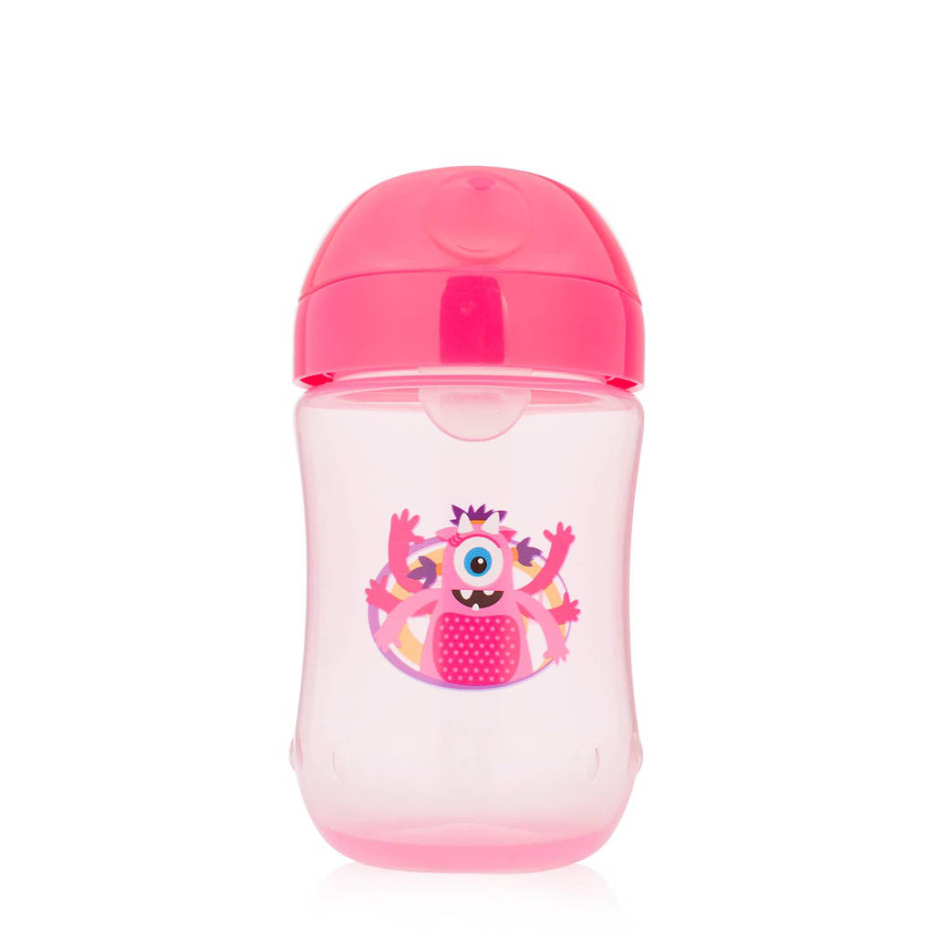 Dr. Brown's drinkbeker zachte tuit 270 ml roze, Roze