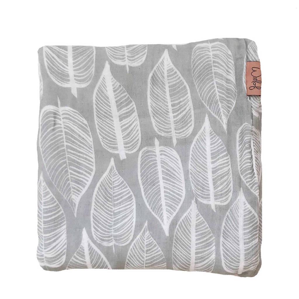 Witlof for kids Beleaf hydrofiele doek 120x120 cm warm grey/wit, Warm grey/wit