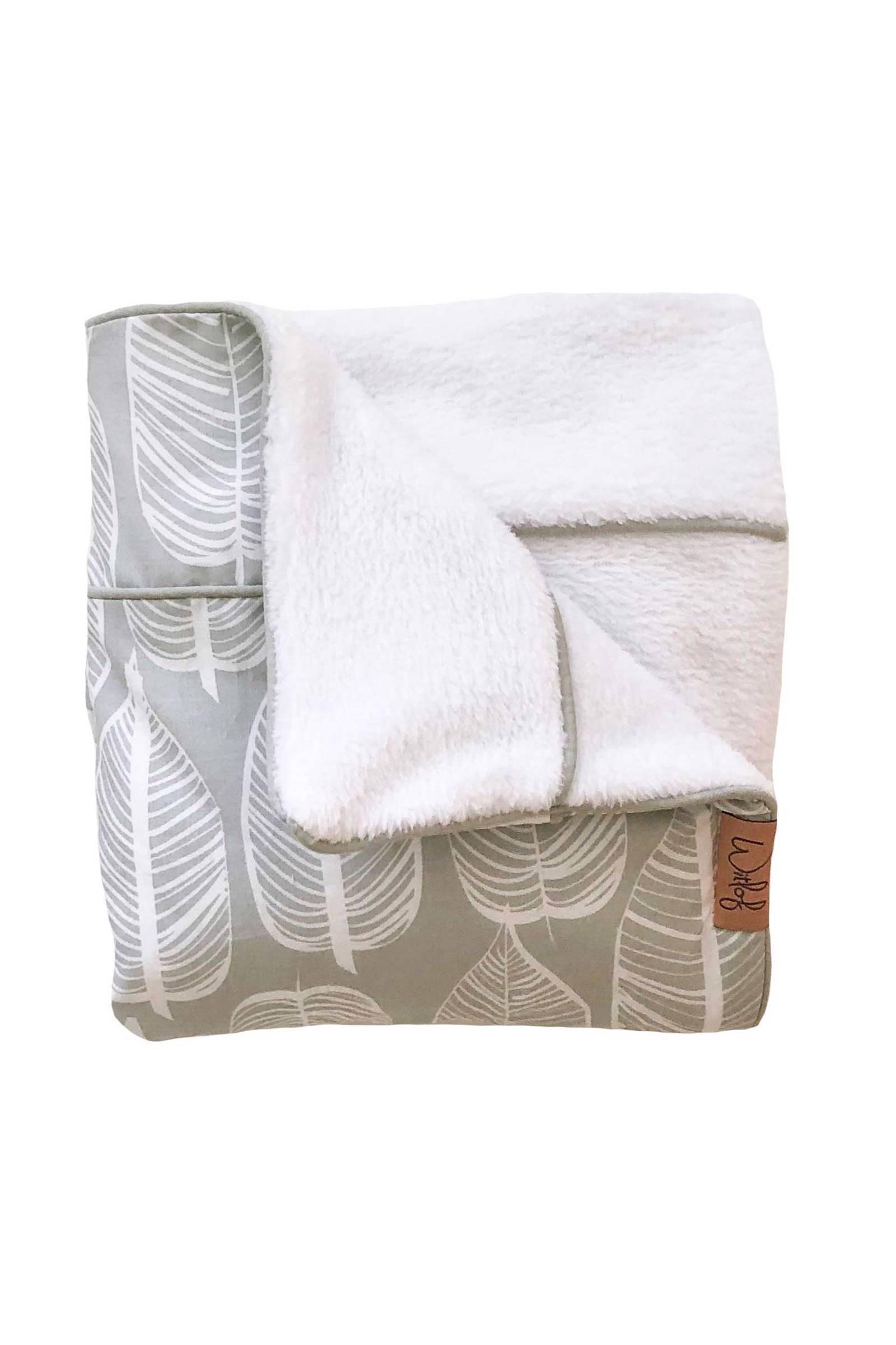 Witlof for kids Beleaf Tuck-Inn® wiegdeken warm grey/wit
