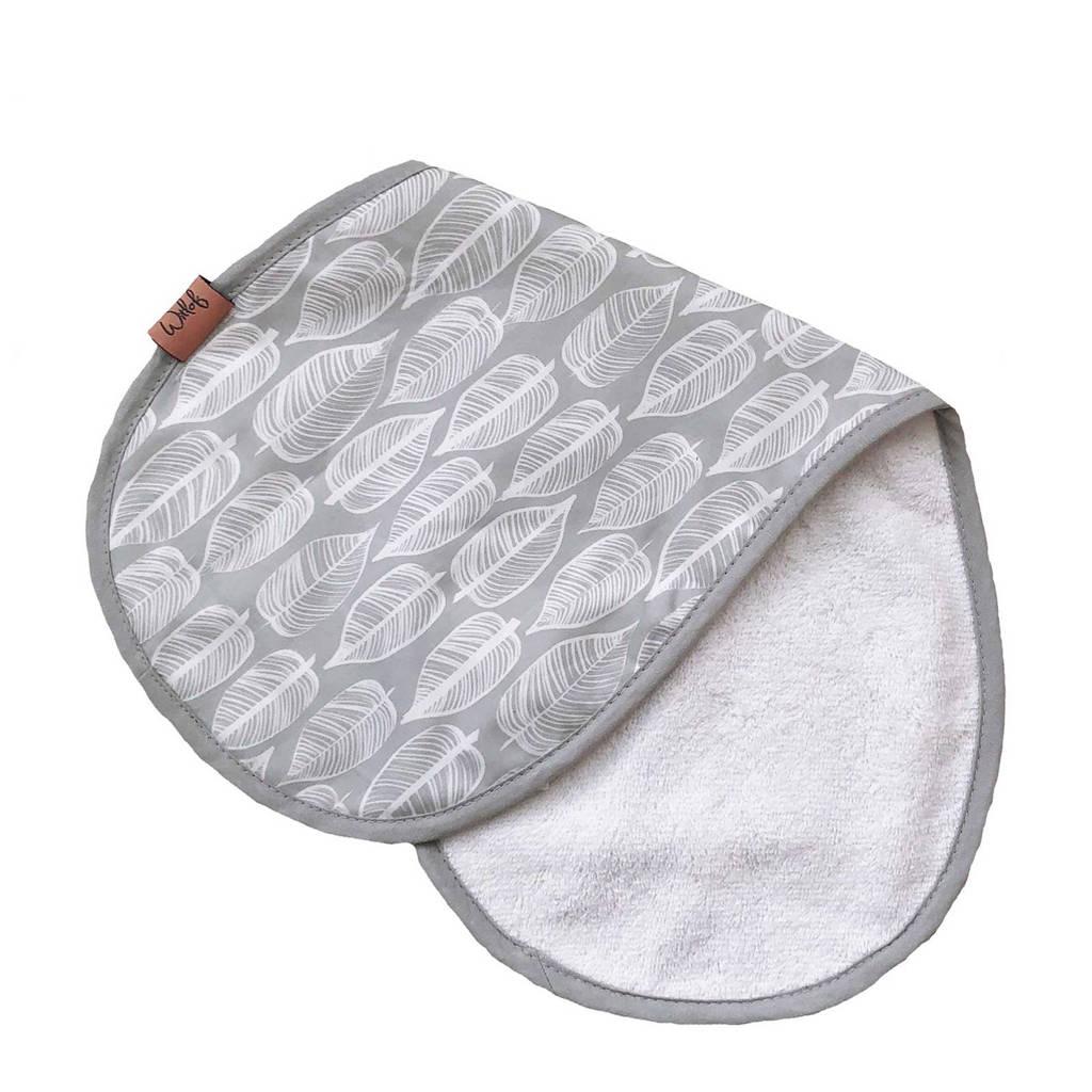 Witlof for kids Beleaf spuugdoekje warm grey/wit, Warm grey/wit