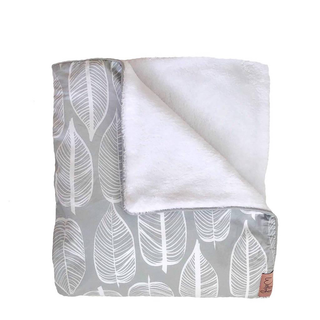 Witlof for kids Beleaf Tuck-Inn® ledikantdekentje warm grey/wit, Warm Grey