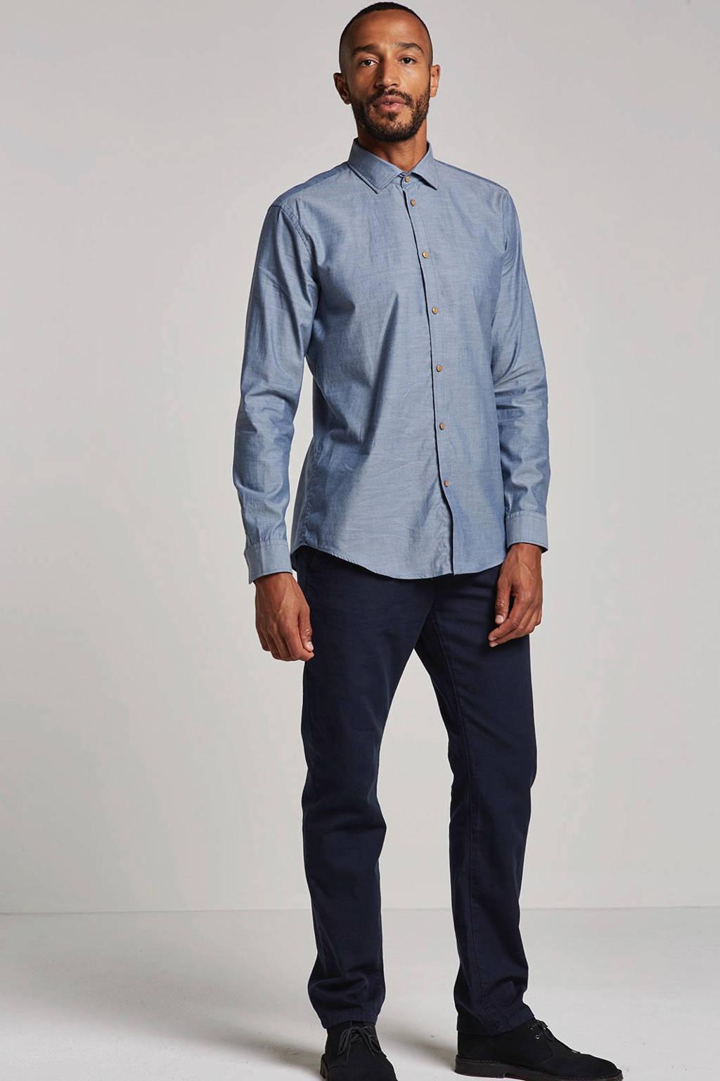 ESPRIT Men Collection regular fit overhemd met wol blauw, Blauw