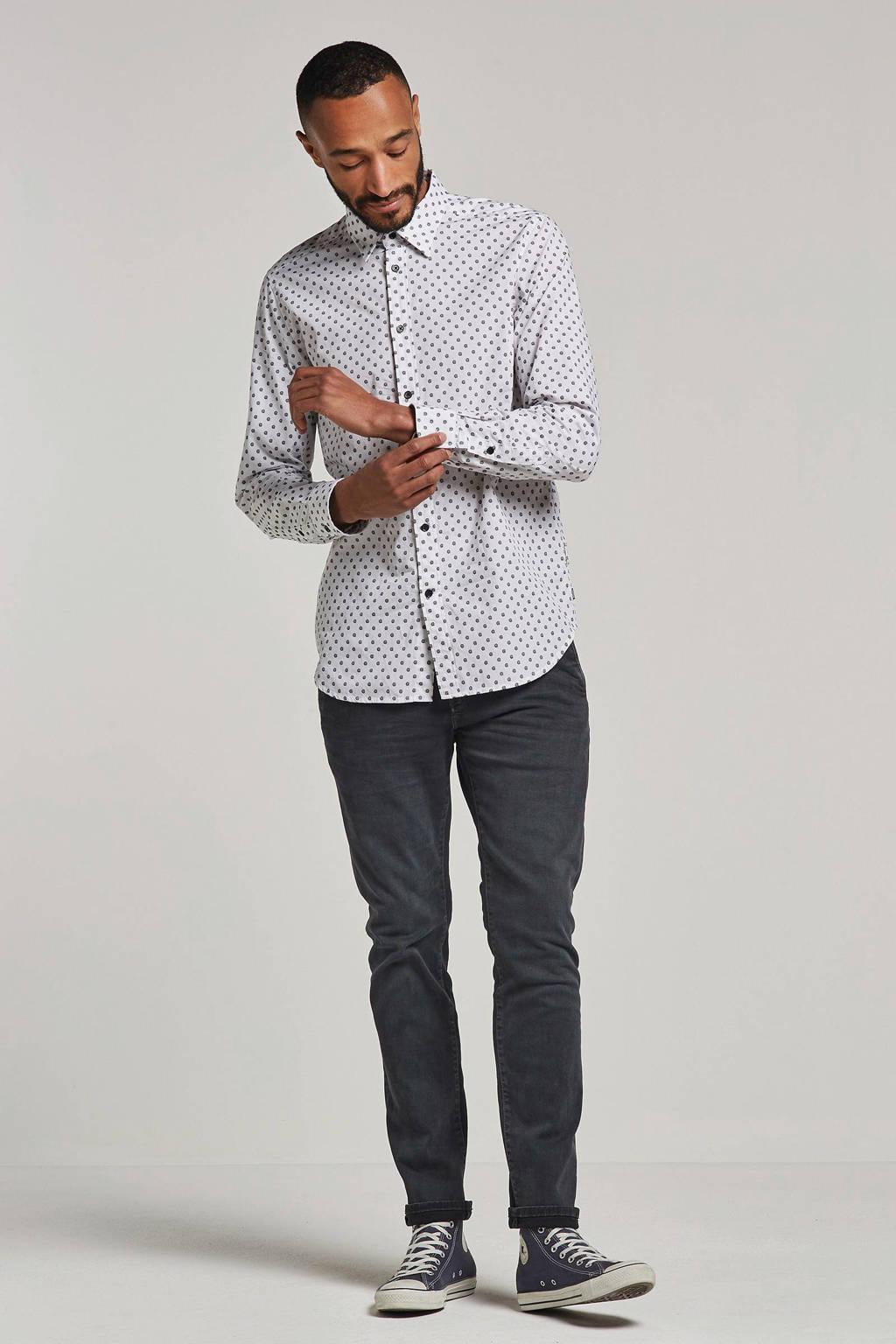 Diesel overhemd met borduur, Wit/zwart