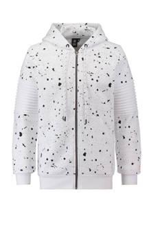 vest met verfspattenprint wit