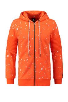 vest met verfspattenprint oranje