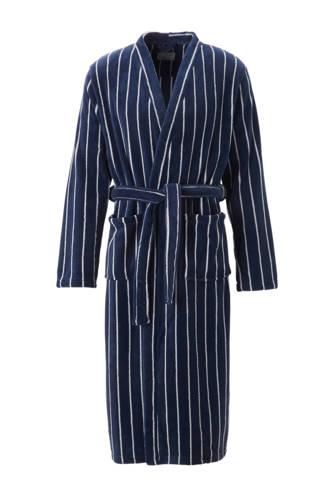 fleece badjas met strepen blauw