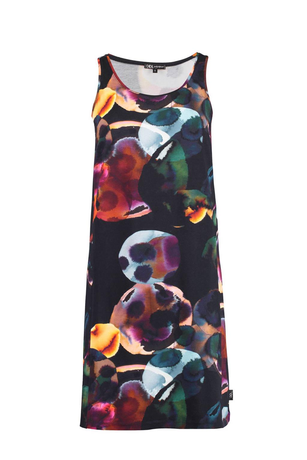Didi A-lijn jurk met ecoline print, Zwart/rood