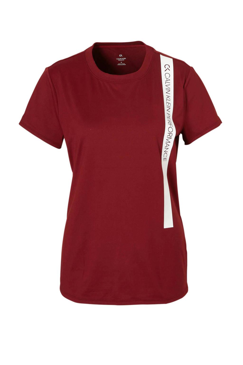 Calvin Klein Performance sport T-shirt bordeauxrood, Bordeauxrood/wit/blauw