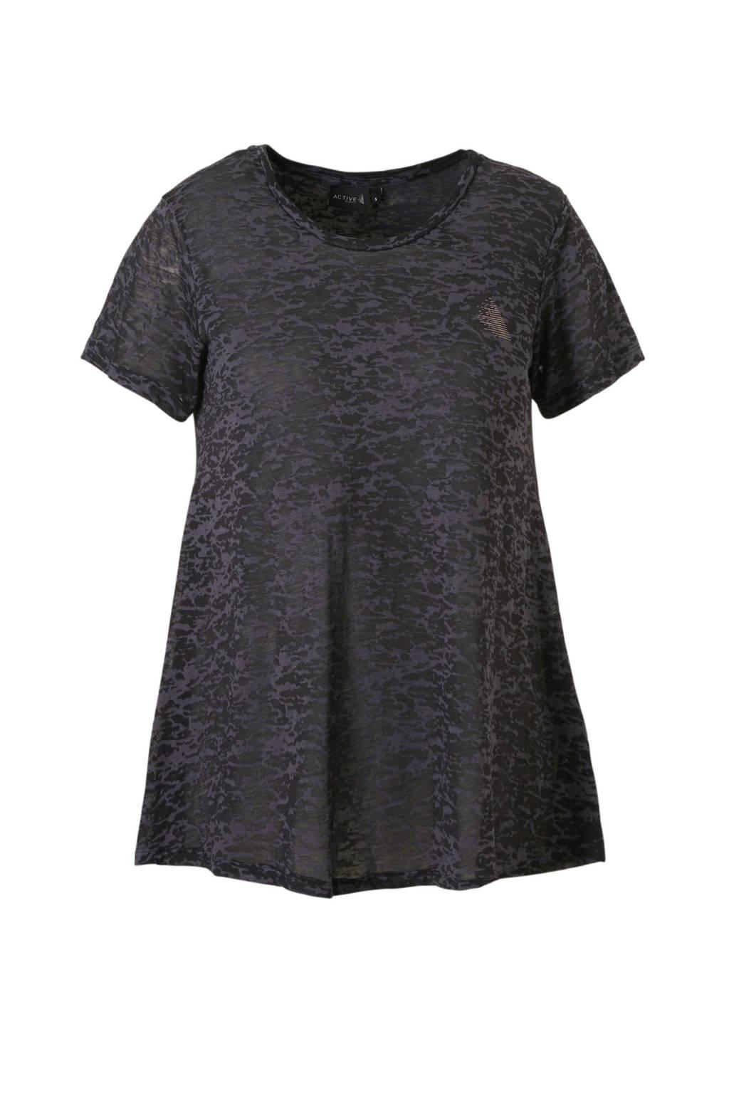 ACTIVE By Zizzi sport T-shirt doorzichtig grijs/zwart, Grijs/zwart