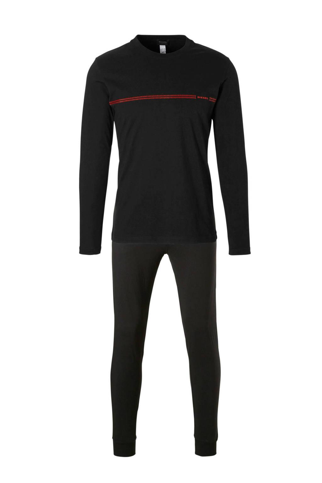 Diesel katoenen pyjama zwart, Zwat/rood