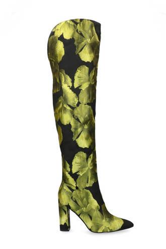 overknee laarzen met bloemen print zwart