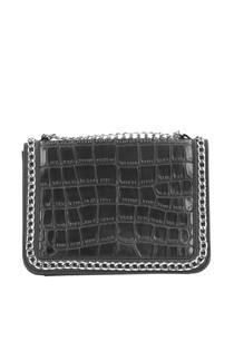Sacha  lak crossbody tas met slangenprint zwart