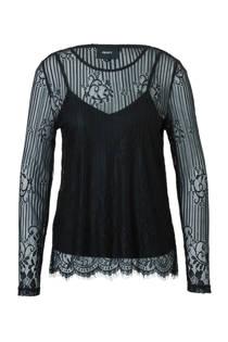 OBJECT mesh top met kanten details (dames)