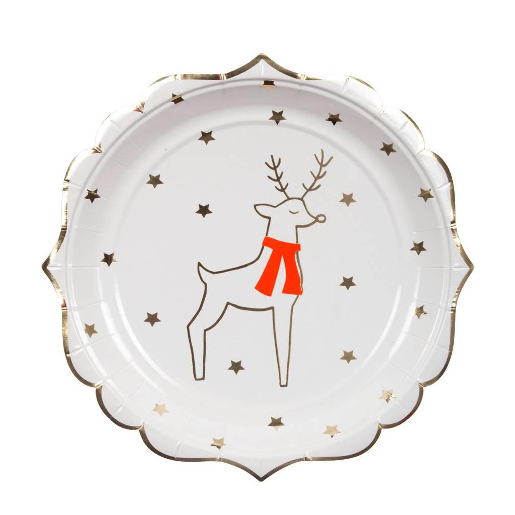 Meri Meri papieren borden kerst (set van 8), Wit/goud