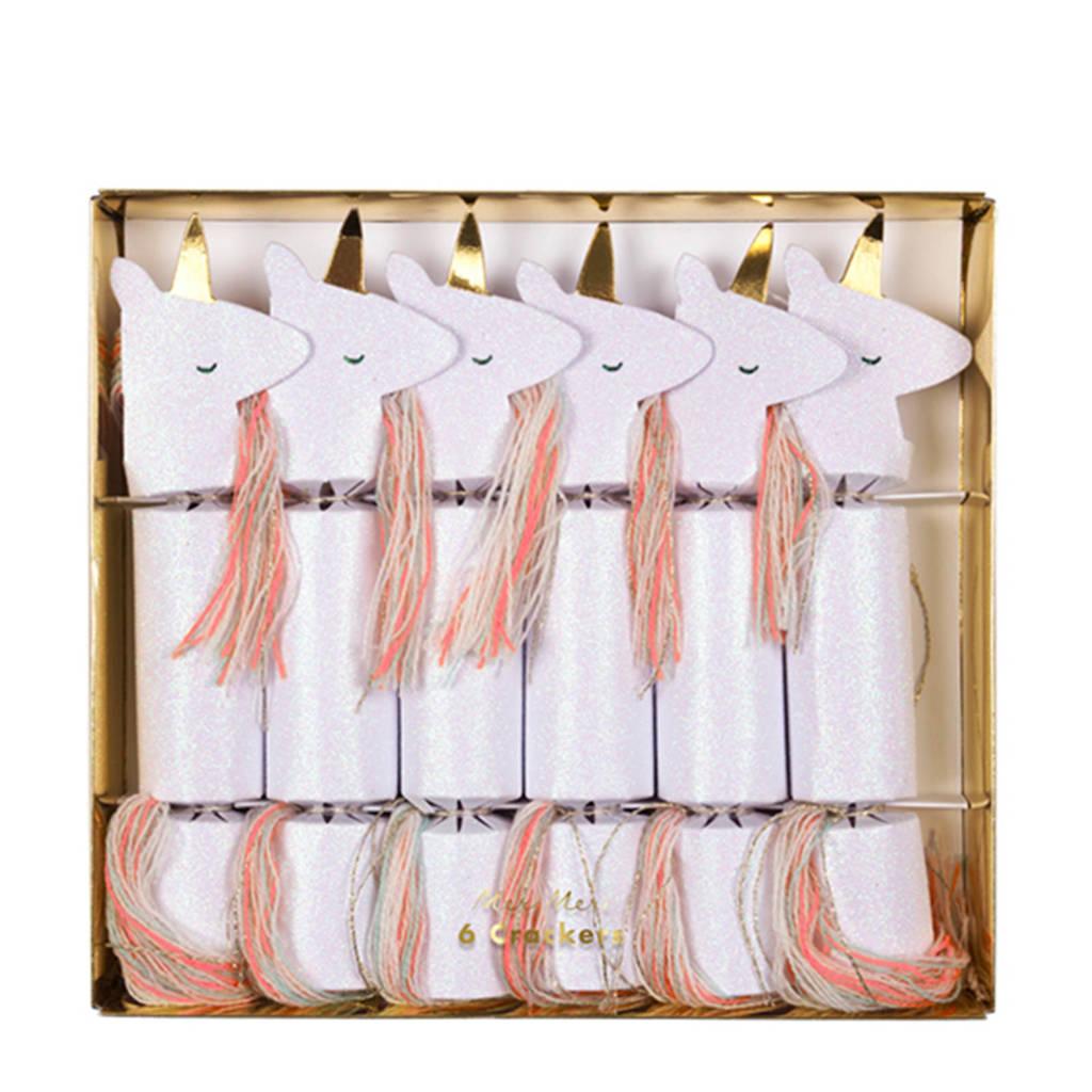 Meri Meri kerst crackers unicorn (set van 6), Wit/roze