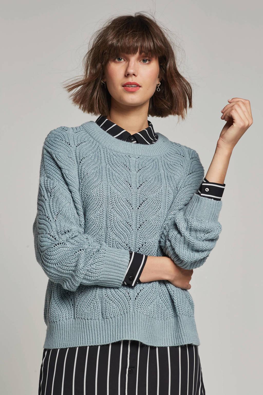 OBJECT gebreide trui, Lichtblauw