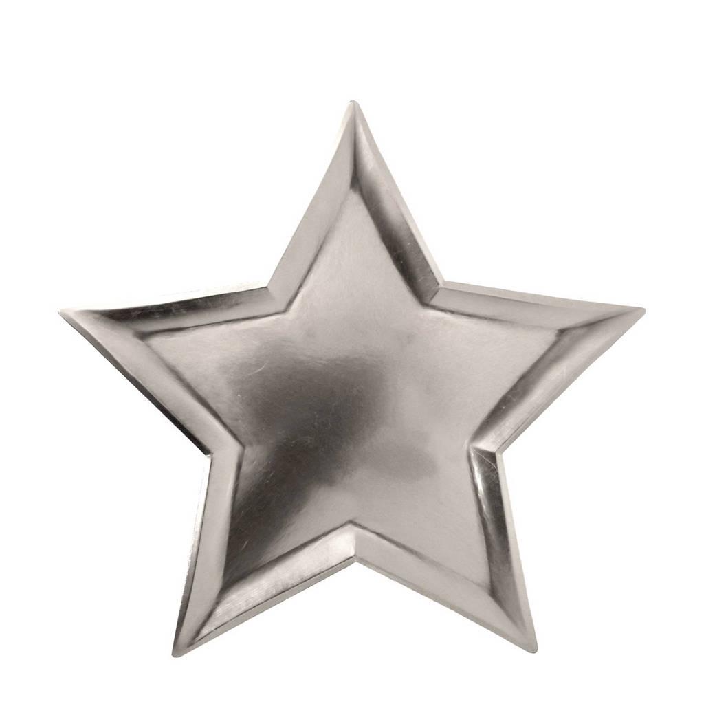 Meri Meri papieren bord ster (set van 8), Zilver