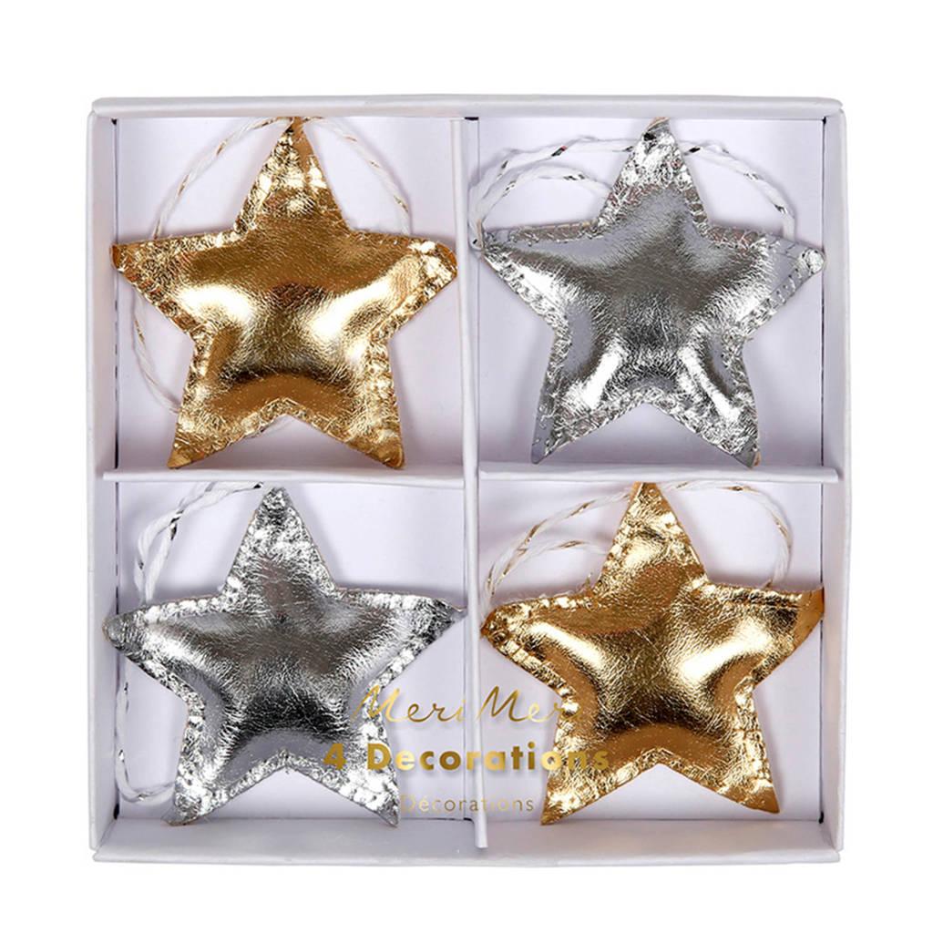Meri Meri kersthanger ster (set van 4), Goud/zilver