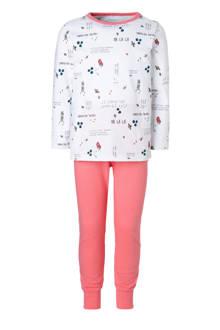MINI pyjama met all over print wit/roze