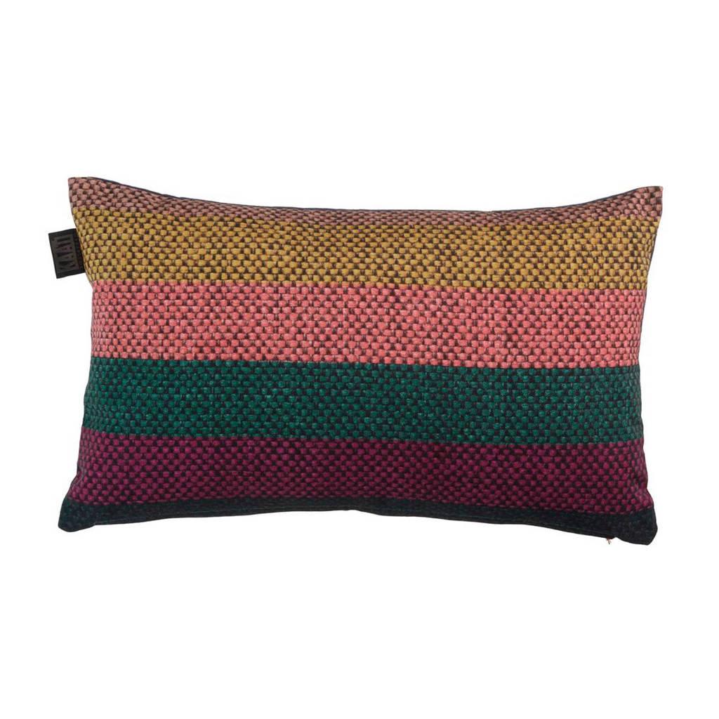 KAAT Amsterdam sierkussen Pinta ( 30x50 cm), Roze/donkergroen/paars/d.blauw/zwart