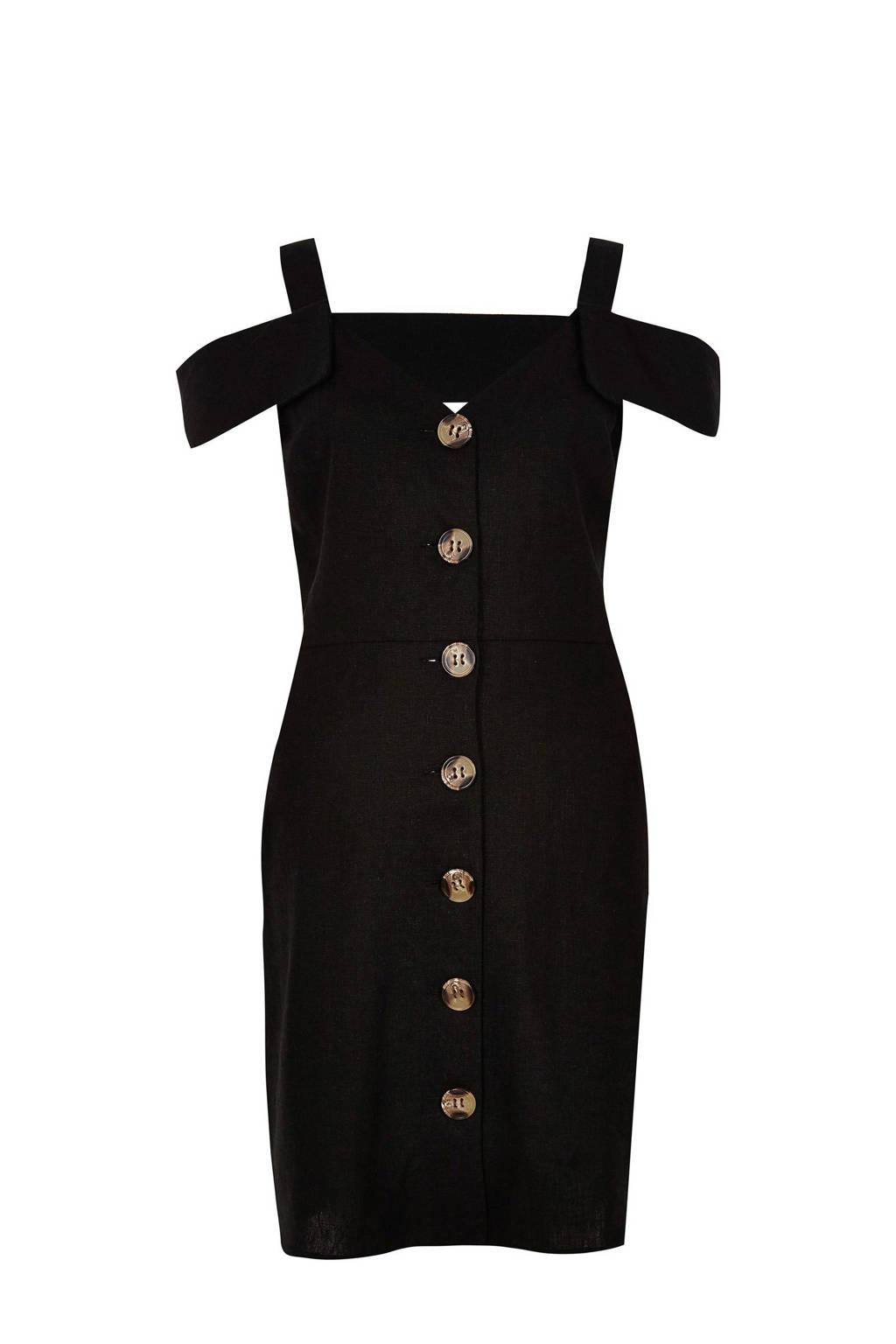 River Island linnen cold shoulder jurk, Zwart