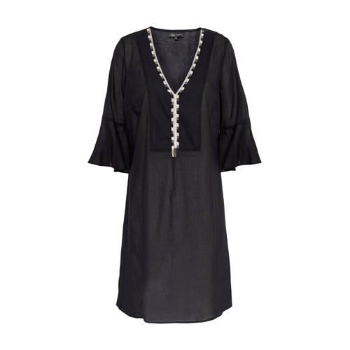 A-lijn jurk met kralen zwart