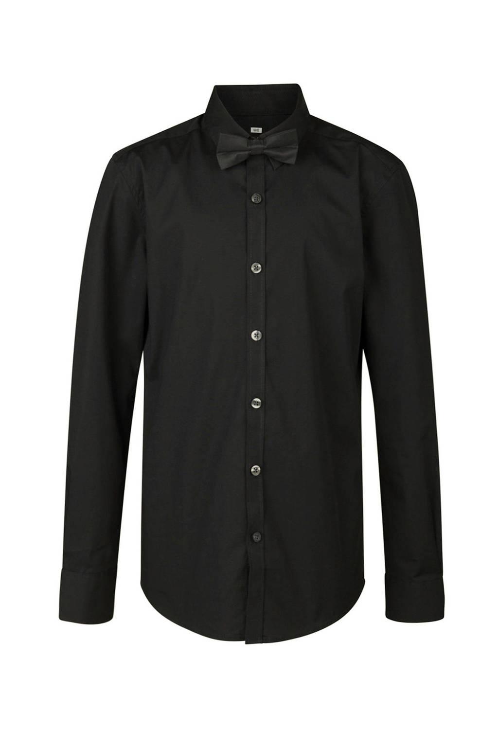 WE Fashion overhemd + vlinderstrik zwart, Zwart