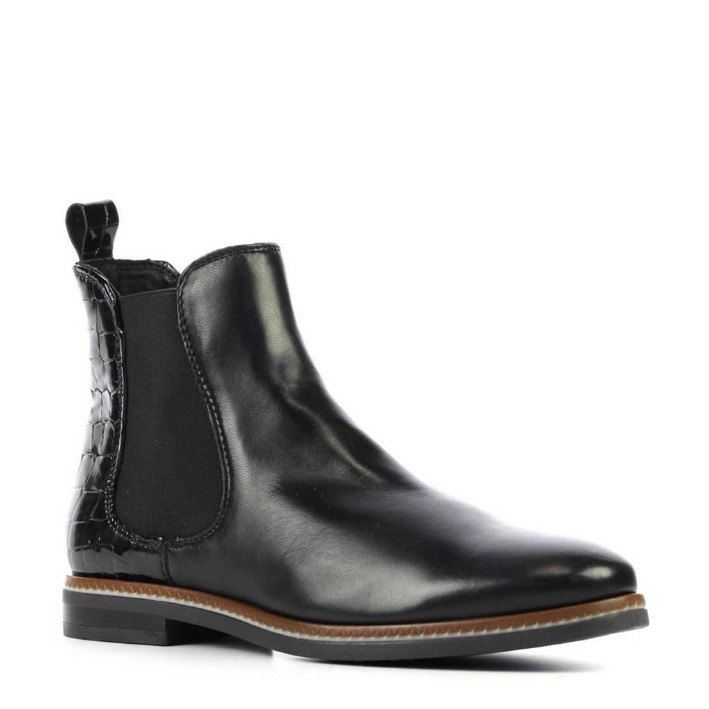 Stefano Lauran leren chelsea boots met lak zwart, Zwart