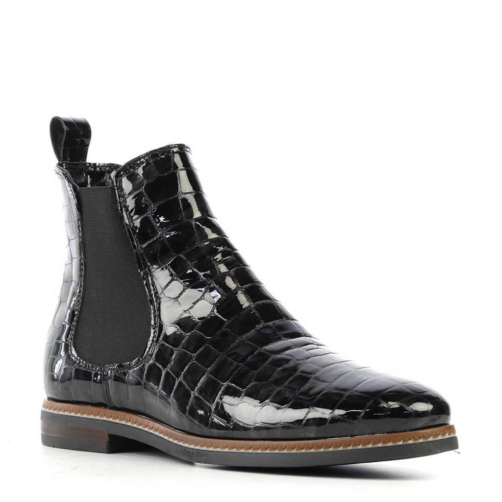 Stefano Lauran lak chelsea boots met reptielenprint, Zwart
