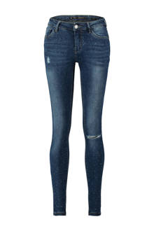 skinny jeans met destroyed detail blauw