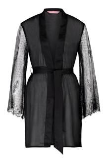 kimono met mesh zwart