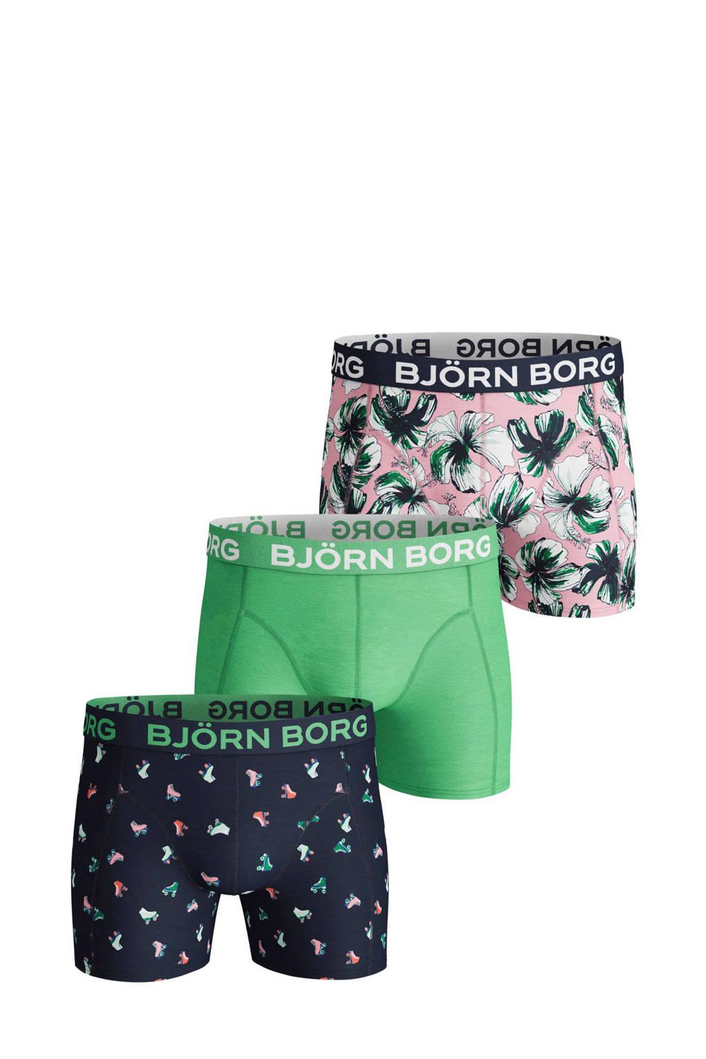 Björn Borg boxershort (set van 3), Groen/marine/roze
