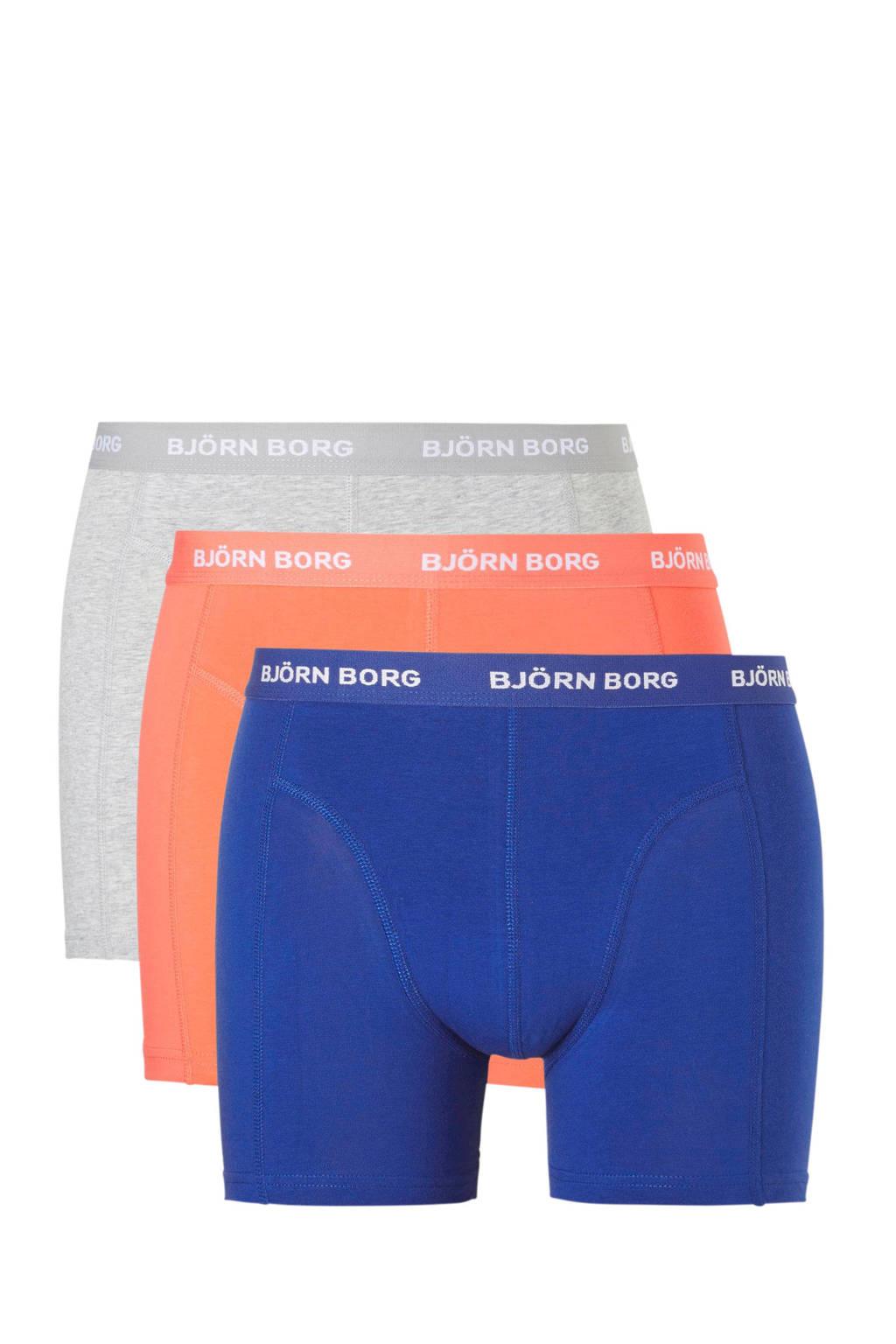 Björn Borg boxershort (set van 3), blauw/oranje/grijs