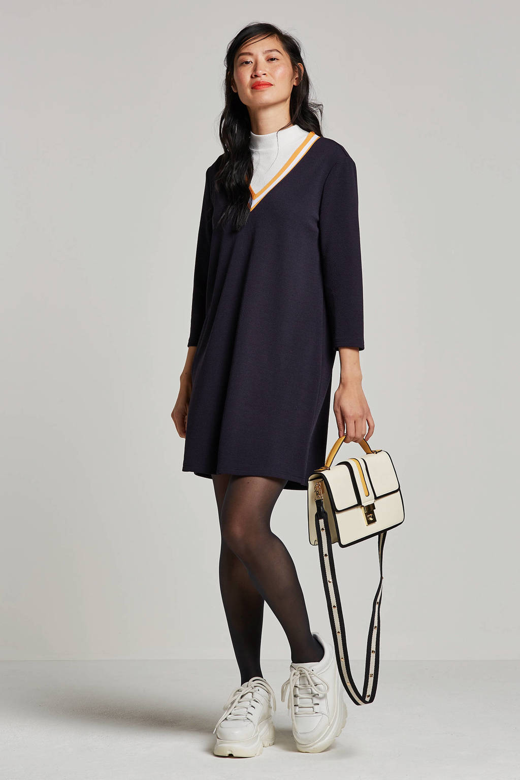 VERO MODA jurk met V-hals, Donkerblauw/geel/wit