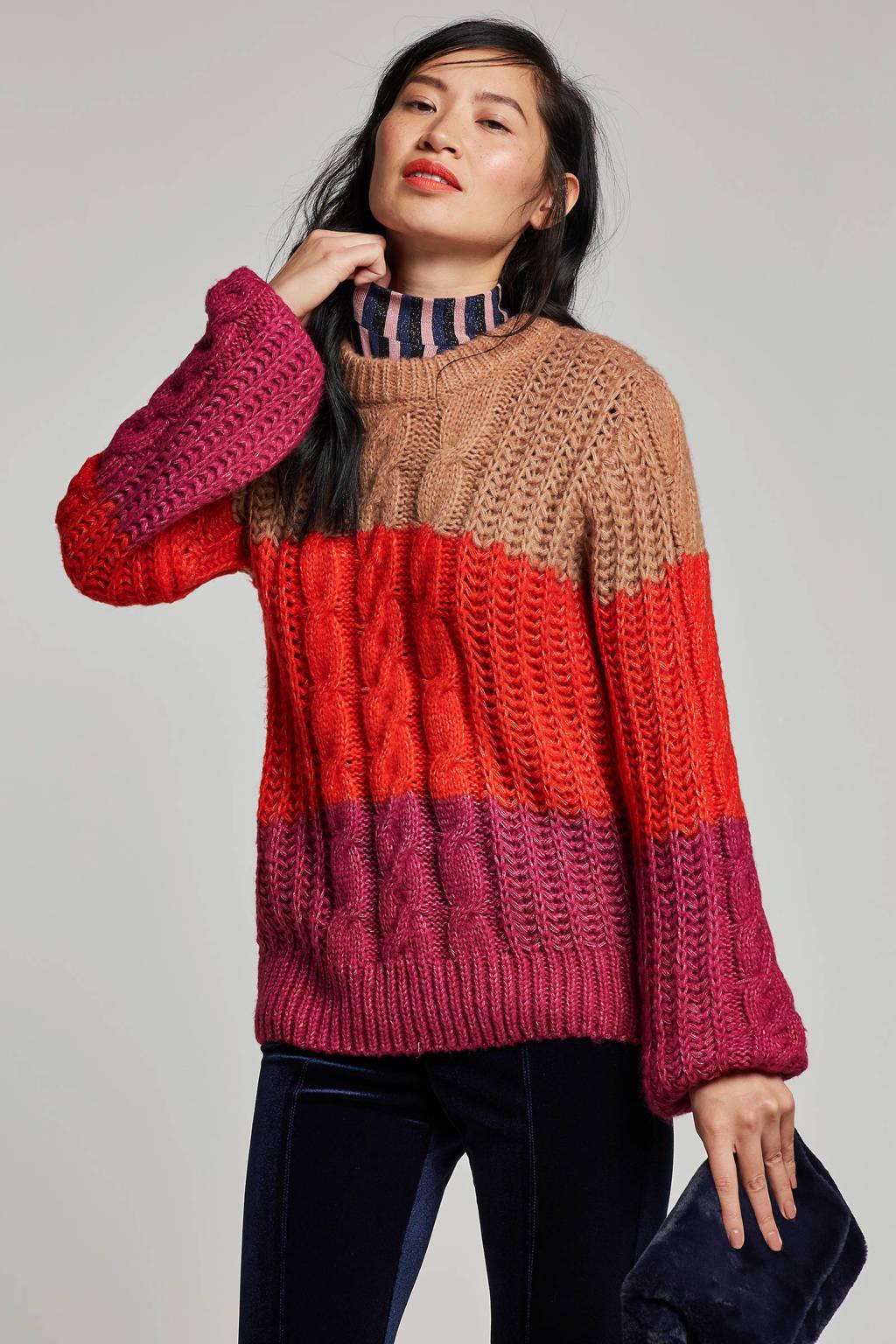 VERO MODA gebreide trui met strepen, Rood/beige/paars