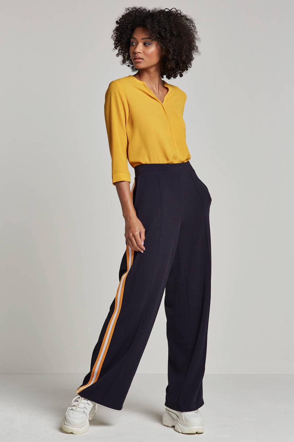 VERO MODA broek met gekleurde zij strepen, Donkerblauw/wit/geel