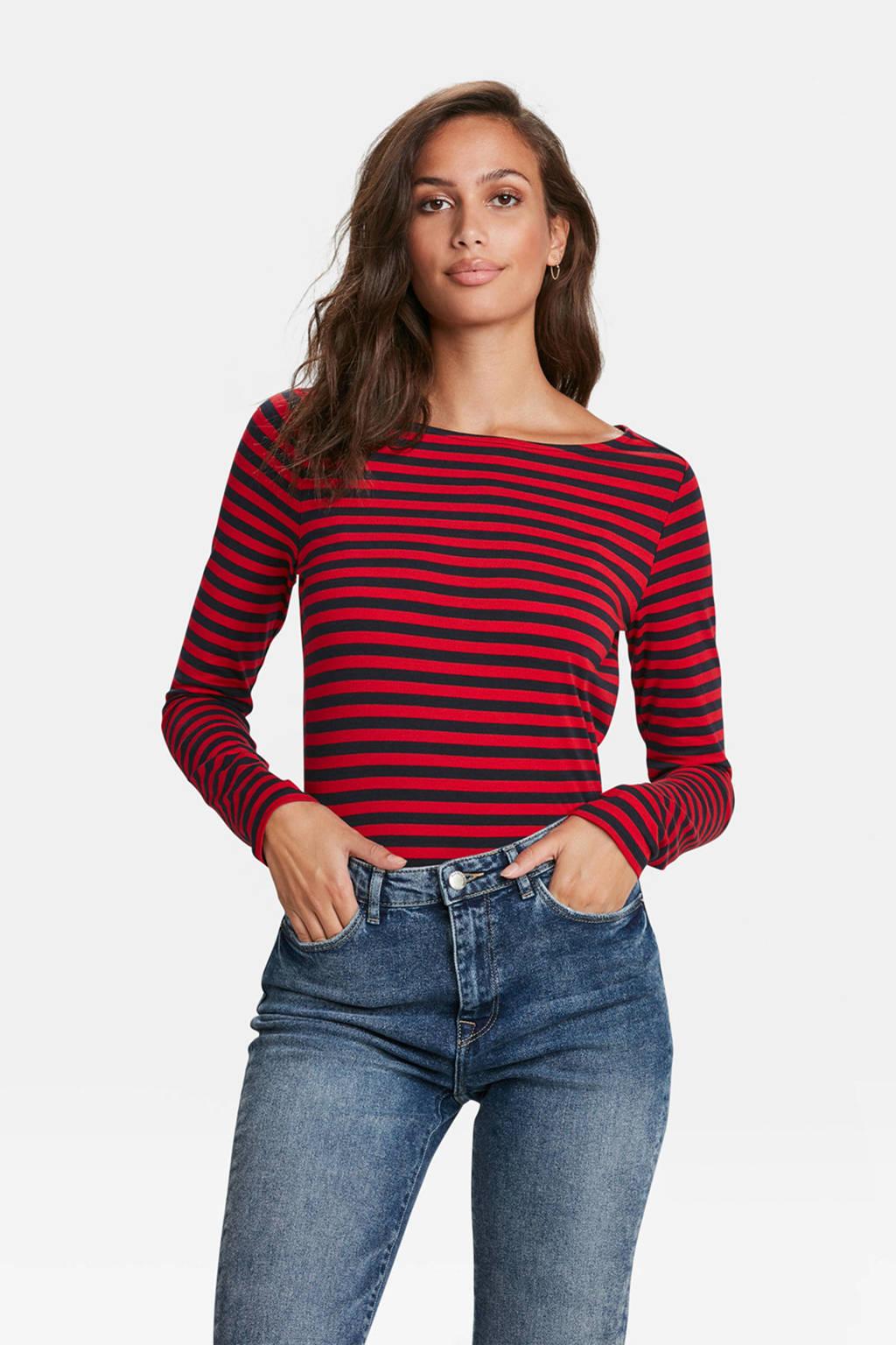 WE Fashion gestreepte longsleeve rood, Rood/zwart