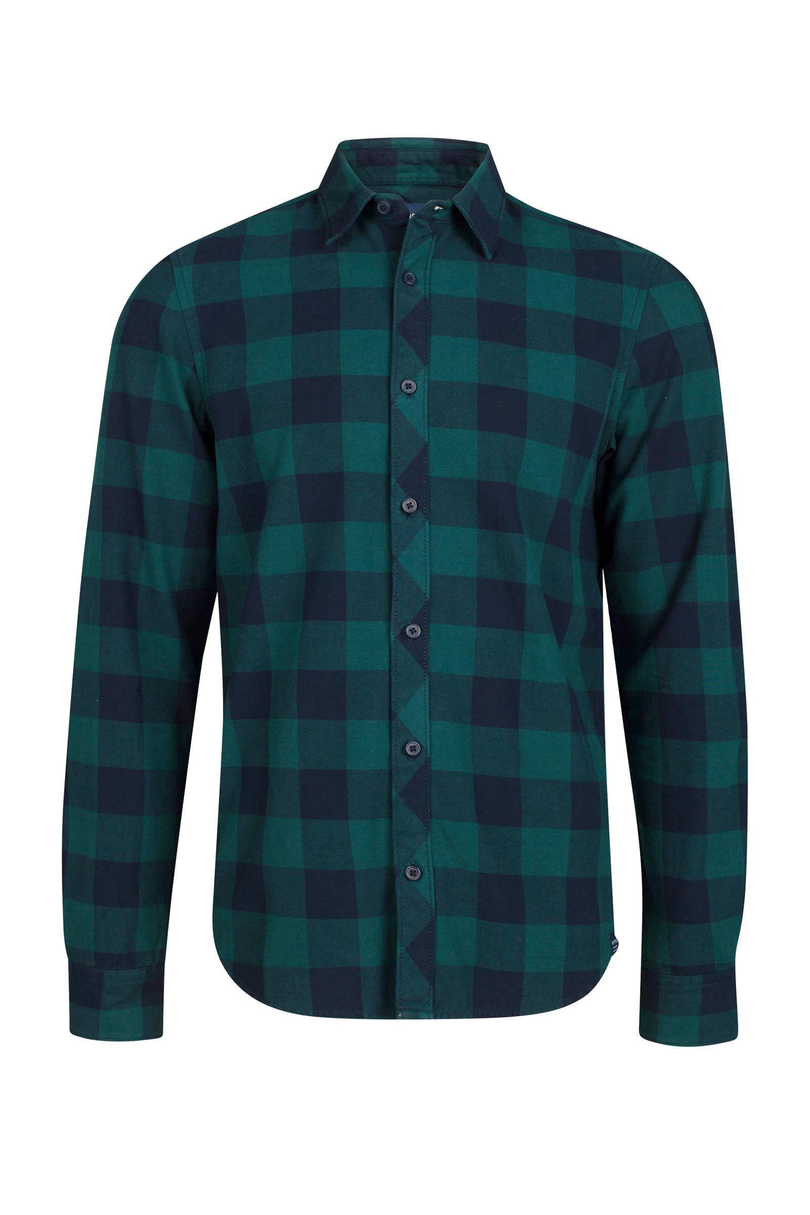 Donkergroen Overhemd.We Fashion Geblokt Slim Fit Overhemd Groen Wehkamp