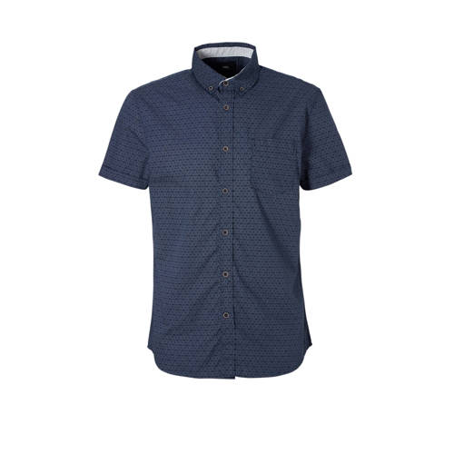 overhemd met print donkerblauw